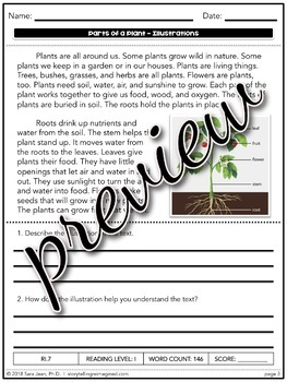 Parts of a Plant Reading Comprehension Passage Close Reading & Google Slides