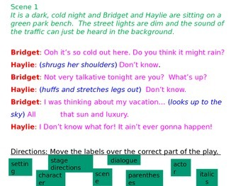 Parts of a Play and Elements of Drama