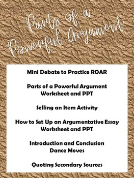 Parts of a Powerful Argument - Argumentative Unit - Debate