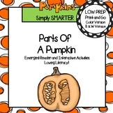 Parts of a Pumpkin Emergent Reader Book AND Interactive Activities