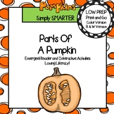 Parts of a Pumpkin Emergent Reader Book AND Interactive Activities