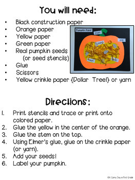 Parts of a Pumpkin Craft!