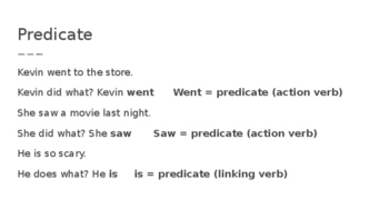 Parts of a Sentenc PPt