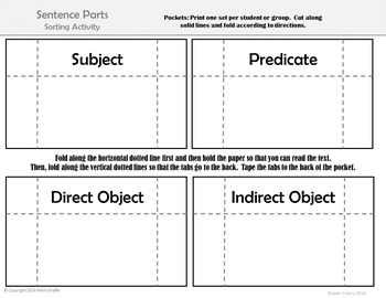 Parts of a Sentence Card Sort: Subject, Predicate, Direct,and Indirect Object