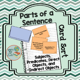 Parts of a Sentence Card Sort: Subject, Predicate, Direct,