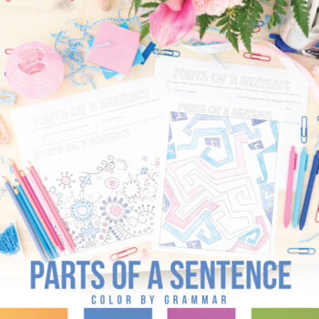 Parts of a Sentence Coloring Sheet