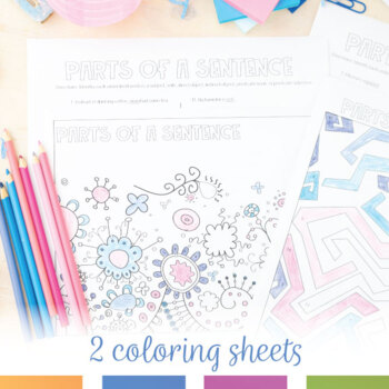Color by Grammar: Parts of a Sentence Coloring Sheets