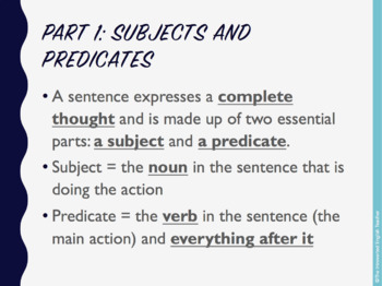 Parts of a Sentence PPT and Skeleton Notes