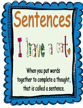 Parts of a Sentence Posters and Sorting Sheets