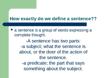 Parts of a Sentence Power Point Lecture