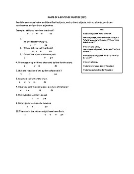 Parts of a Sentence Practice Sheet with Key
