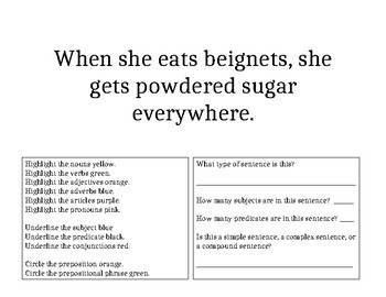 Parts of a Sentence Review Worksheets