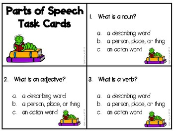 Parts of a Sentence Task Cards