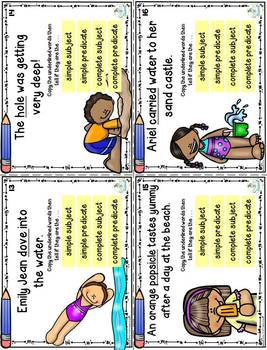 Parts of a Sentence Task Cards (subjects, predicates) print and digital version