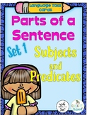 Parts of a Sentence Task Cards (subjects, predicates) prin