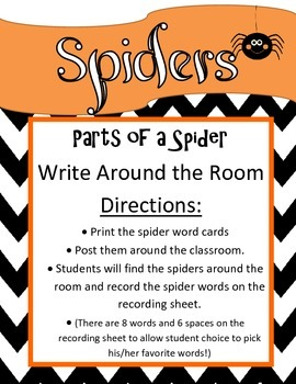 Parts of a Spider- Write Around the Room