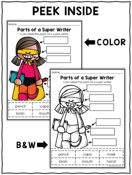 Vocabulary Activity - Parts of a Writer