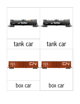 Parts of a Train 3-Part Cards in Color