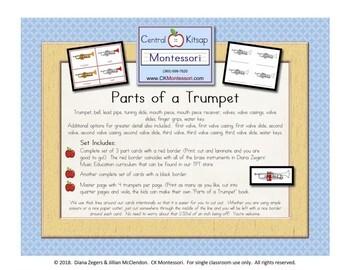 Parts of a Trumpet - Montessori 3 Part Cards