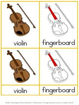 Parts of a Violin - Montessori 3 part cards