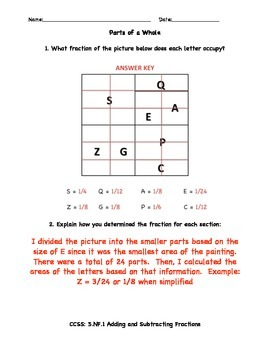 Parts of a Whole - Adding and Subtracting Fractions