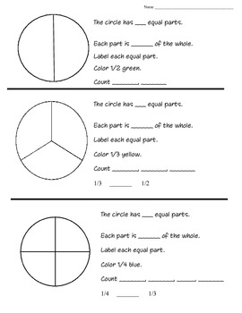Parts of a Whole- Fractions Coloring