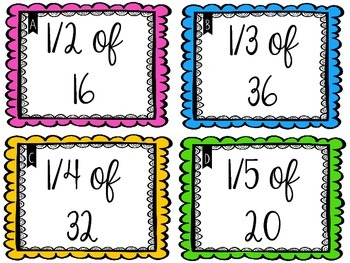 Parts of a Whole Multiplication Cards