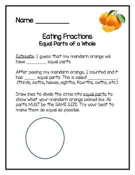 Parts of a Whole: Munchy Mandarin Math {Fractions FREEBIE}