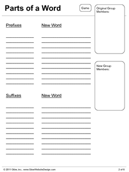 Parts of a Word - Prefixes & Suffixes Packet