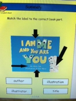 Parts of a book cover SMARTboard lesson