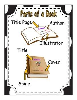 Parts of a book poster black and white polkadot border