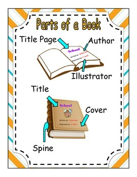 Parts of a book poster yellow chevron border