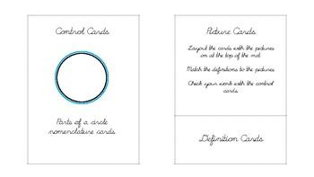 Parts of a circle Geometry nomenclature cards in d'nealian cursive font