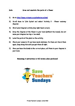 Parts of a flower Lesson plan, Hyperlinks and Instructions