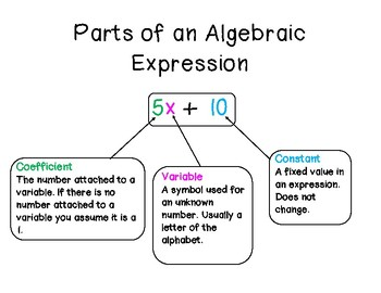 PARTS OF ALGEBRAIC EXPRESSIONS NOTES