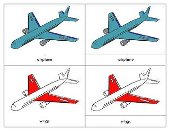 Parts of an Airplane - Three Part Cards