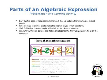 Parts of an Algebraic Expression Presentation and Coloring Activty