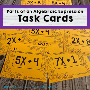 Identifying Parts of an Algebraic Expression Task Cards
