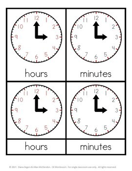Parts of an Analog Clock - Montessori 3 part cards