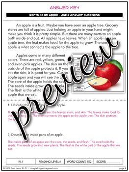 Parts of an Apple Reading Comprehension  Passage & Questions Close Reading