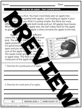 Parts of an Apple • Reading Comprehension Passages and Questions • RL II