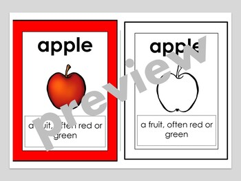 Parts of an Apple Vocabulary Words Color, Cut and Glue Dictionary