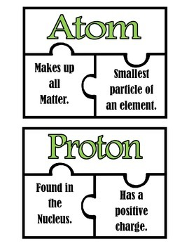 Parts of an Atom: Puzzle Match Up FREEBIE