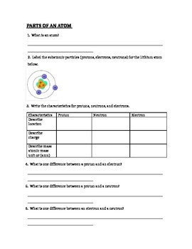 Worksheets Parts Of The Atom Worksheet atomic structure parts of an atom worksheet by paige lam worksheet