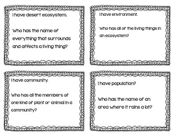 """Parts of an Ecosystem Interactive Vocabulary Game """"I Have, Who Has?"""" Cards"""
