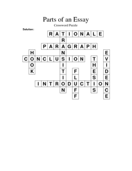 parts of an essay vocabulary crossword puzzle by keith davis tpt parts of an essay vocabulary crossword puzzle