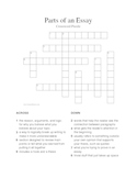 Parts of an Essay Vocabulary Crossword Puzzle