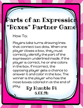 Parts of an Expression Boxes Partner Game-6.EE.2b