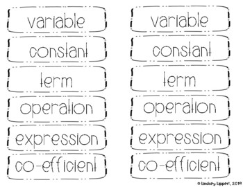 NO PREP Parts of an Expression Interactive Notebook Foldable and Activities