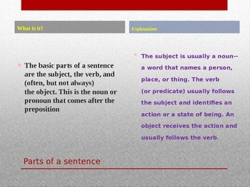 Parts of speech, combining sentences, active and passive voice powerpoint